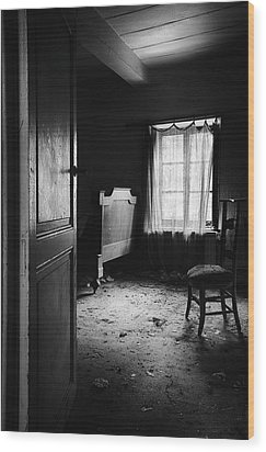 Wood Print featuring the photograph Bed Room Chair - Abandoned Building by Dirk Ercken