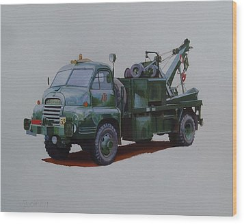 Wood Print featuring the painting Bedford Wrecker Afs by Mike Jeffries