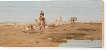 Bedouin In The Desert Wood Print by Frederick Goodall