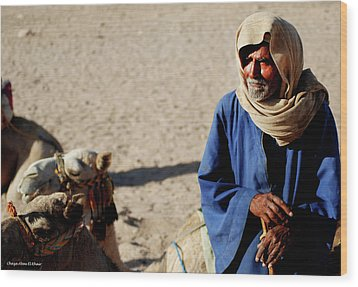 Bedouin Man In Blue Wood Print by Chaza Abou El Khair