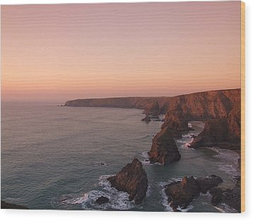 Bedruthan Steps Sunset Wood Print