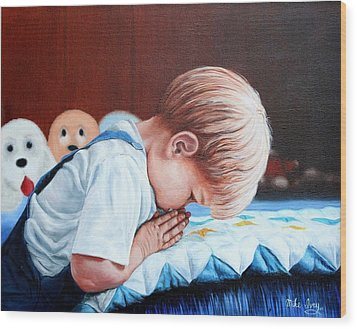 Wood Print featuring the painting Bedtime Prayer by Mike Ivey