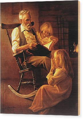 Wood Print featuring the painting Bedtime Stories by Greg Olsen