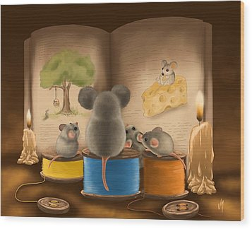Wood Print featuring the painting Bedtime Story by Veronica Minozzi