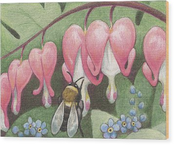 Bee And Bleeding Heart Wood Print by Amy S Turner
