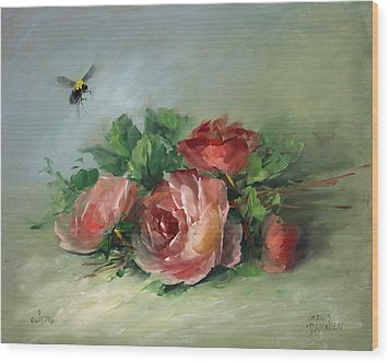 Bee And Roses On A Table Wood Print by David Jansen
