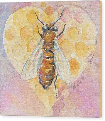 Bee Heart Wood Print