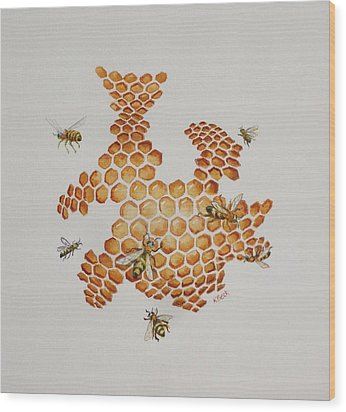 Wood Print featuring the painting Bee Hive # 1 by Katherine Young-Beck
