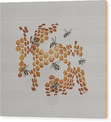 Wood Print featuring the painting Bee Hive # 2 by Katherine Young-Beck