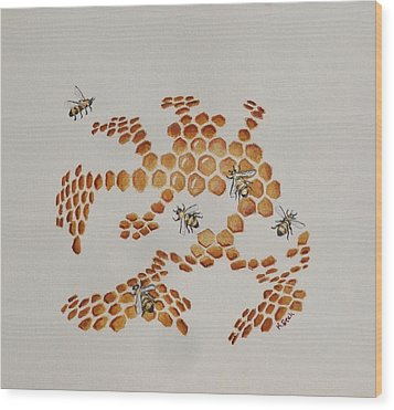Wood Print featuring the painting Bee Hive # 4 by Katherine Young-Beck