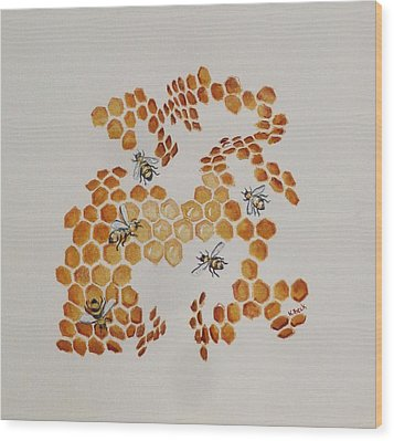 Wood Print featuring the painting Bee Hive # 5 by Katherine Young-Beck