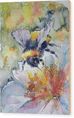 Bee On Flower Wood Print by Kovacs Anna Brigitta
