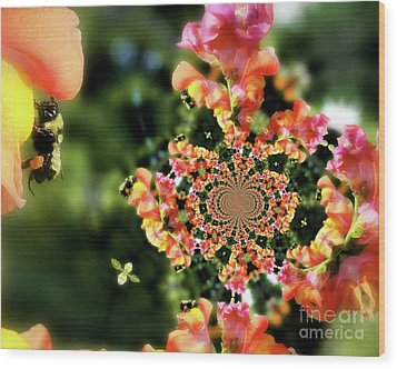 Bee On Snapdragon Flower Abstract Wood Print by Smilin Eyes  Treasures