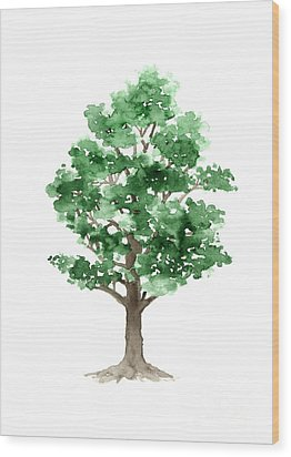 Beech Tree Minimalist Watercolor Painting Wood Print by Joanna Szmerdt