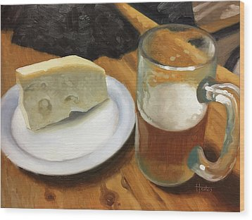 Beer And Jarlsberg Wood Print by Timothy Jones