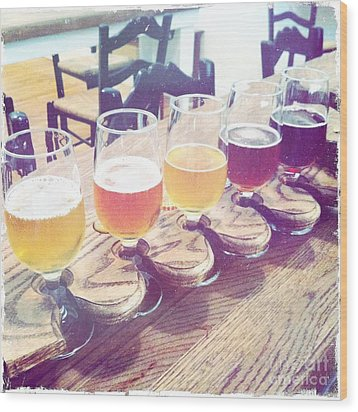 Beer Flight Wood Print
