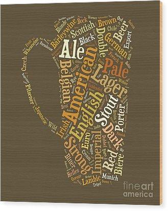 Beer Lovers Tee Wood Print by Edward Fielding