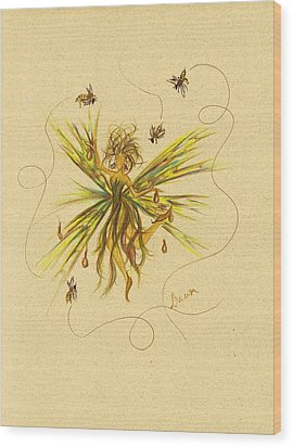 Wood Print featuring the drawing Bees To Honey by Dawn Fairies