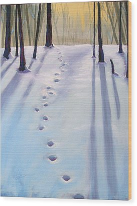 Before Dusk In Deep Snow Wood Print by Christine Camp