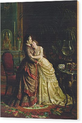 Before The Marriage Wood Print by Sergei Ivanovich Gribkov