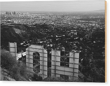 Behind Hollywood Bw Wood Print by James Kirkikis