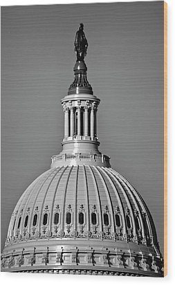 Behind Liberty In Black And White Wood Print by Chrystal Mimbs