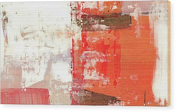 Behind The Corner - Warm Linear Abstract Painting Wood Print by Modern Art Prints