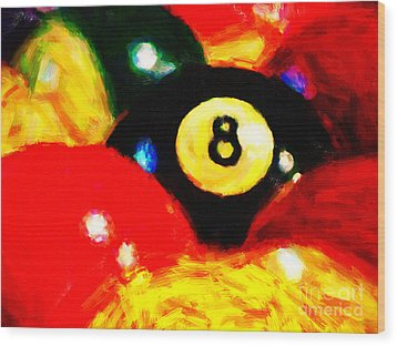 Behind The Eight Ball Wood Print by Wingsdomain Art and Photography