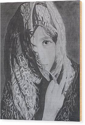 Wood Print featuring the drawing Behind The Veil by Quwatha Valentine
