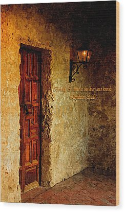 Behold I Stand At The Door And Knock Wood Print