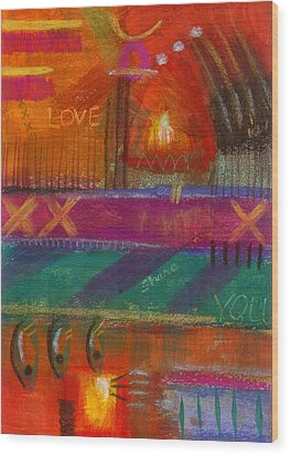 Being In Love Wood Print by Angela L Walker
