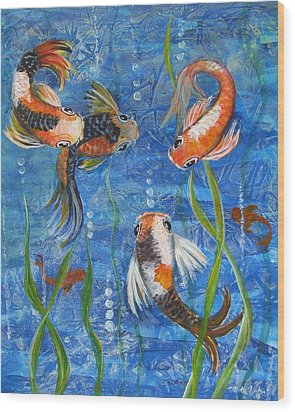 Being Koi Wood Print by Martha Ayotte