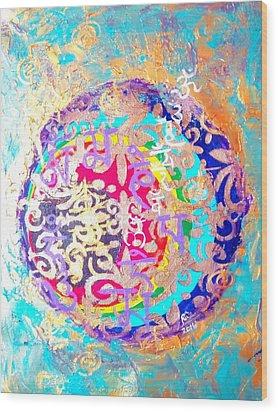 Beingness Emergence From The Black Hole Wood Print by Rizwana Mundewadi