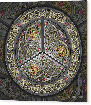 Wood Print featuring the mixed media Bejeweled Celtic Shield by Kristen Fox