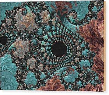 Wood Print featuring the digital art Bejeweled Fractal by Bonnie Bruno