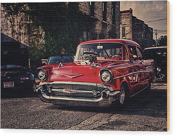 Wood Print featuring the photograph Bel Air Hotrod by Joel Witmeyer