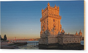 Belem Tower And The Moon Wood Print