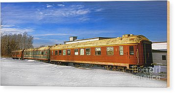 Wood Print featuring the photograph Belfast And Moosehead Railroad Cars In Winter by Olivier Le Queinec