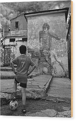 Belfast Boy In Memory Of George Best  Wood Print