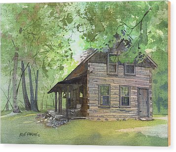 Wood Print featuring the painting Belgian Cabin by Kris Parins