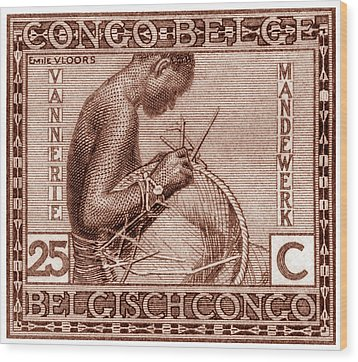 Wood Print featuring the painting Belgian Congo Woman Weaving Basket by Historic Image