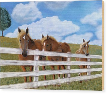 Wood Print featuring the pastel Belgians At Pasture by Jan Amiss