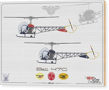 Wood Print featuring the digital art Bell 47g by Amos Dor