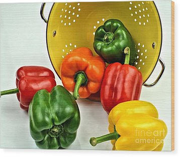 Bell Peppers Wood Print by Jimmy Ostgard