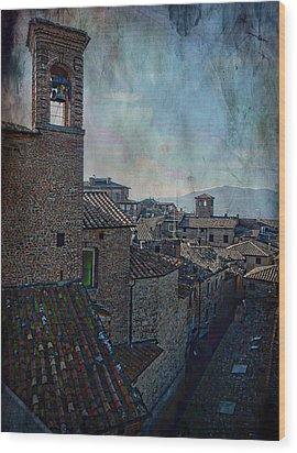 Bell Tower And Rooftops Citta Della Pieve Wood Print