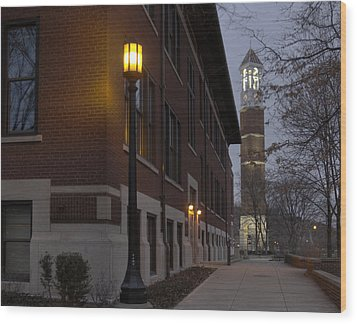 Bell Tower At Night Color Wood Print by Coby Cooper