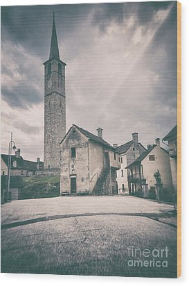 Wood Print featuring the photograph Bell Tower In Italian Village by Silvia Ganora