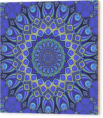 Wood Print featuring the digital art Bella - Blue by Wendy J St Christopher