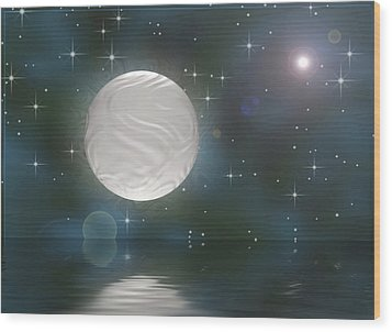 Wood Print featuring the digital art Bella Luna by Wendy J St Christopher