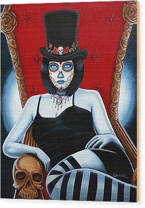 Wood Print featuring the painting Bella Muerte 2016 by Al  Molina